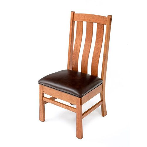 Ashcroft Firelake Cherry Reclaimed Barn Side Chair-Leather 5850W