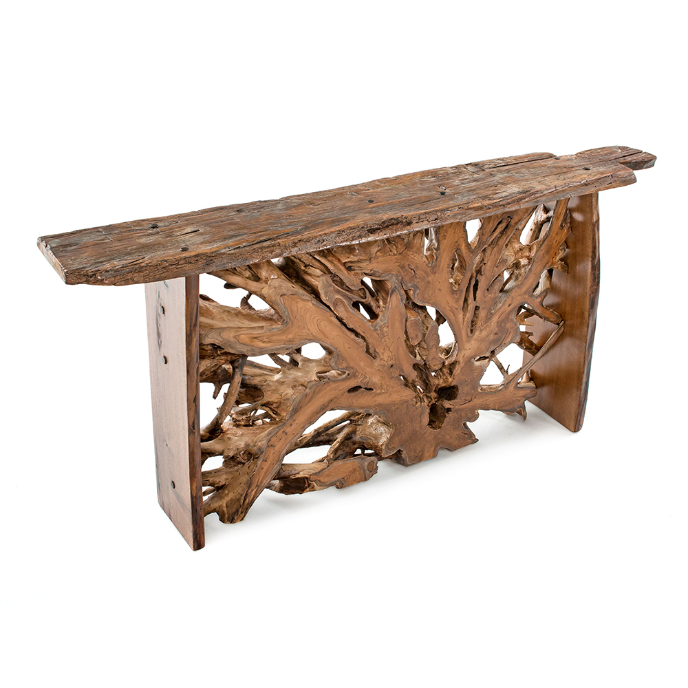 Hand hewn teak reclaimed wood console table