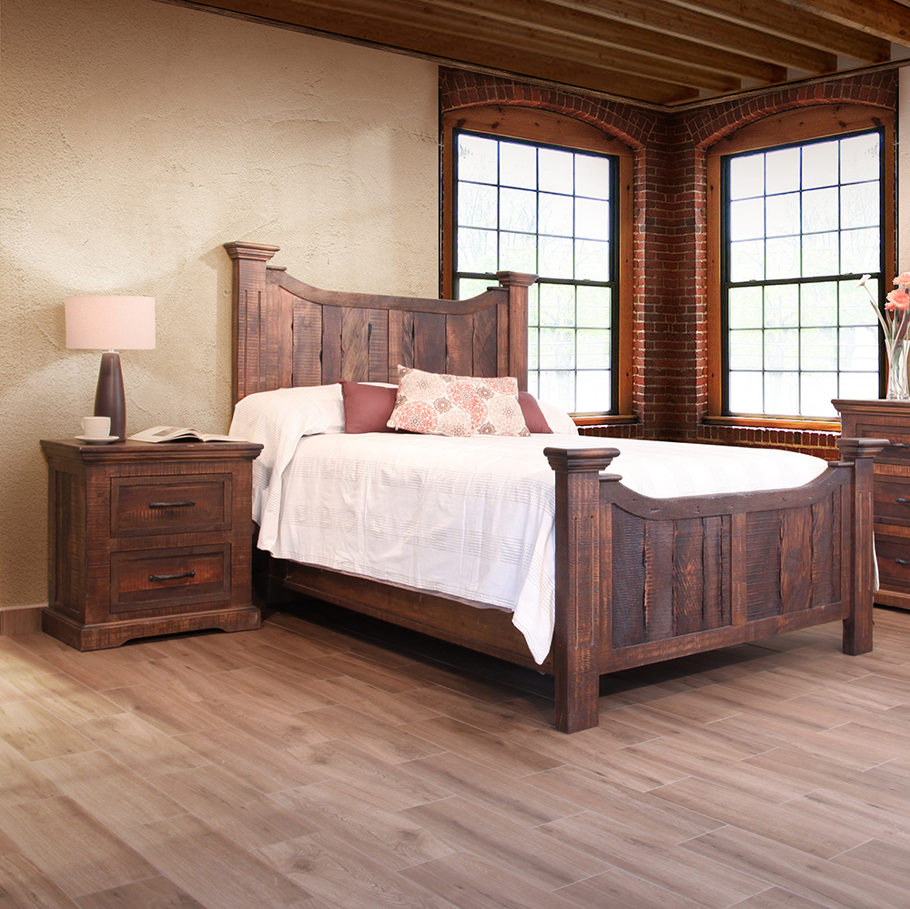 Madeira urban rustic bedroom collection ifd1200bed q for Urban home beds
