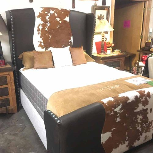 Cowhide Leather Queen Bed