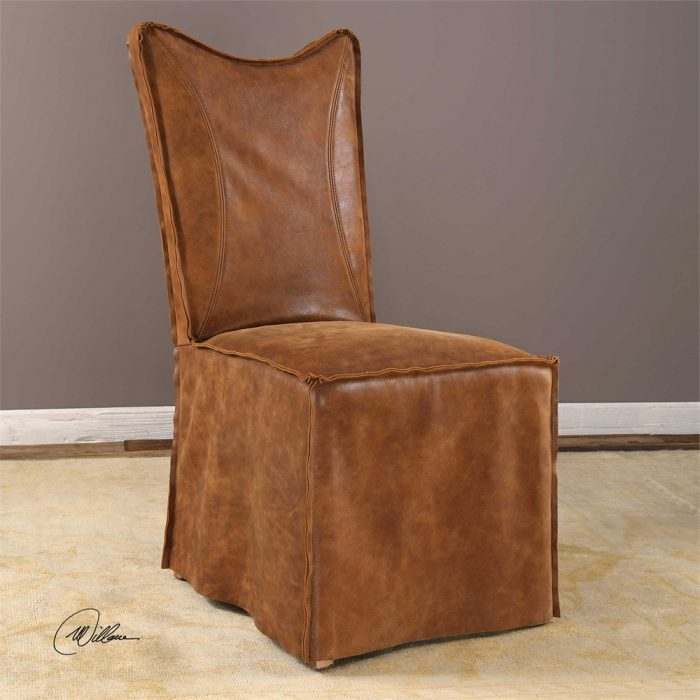Delroy, Armless Chair, Cognac 23447