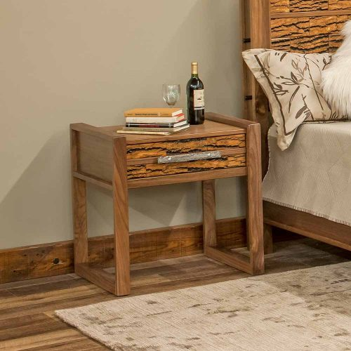 Riley Reclaimed Barn Wood 1 Drawer Nightstand-Bark Tile-TM Designs 6317206-BT