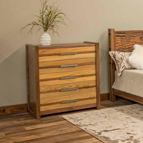 Riley 5 Drawer Chest-Sassafras-Walnut-Pine Bark-TM Designs 6317423-S