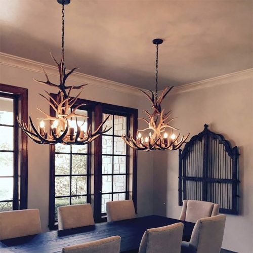 8 Light Tall Mule Deer Antler Chandelier AWC-3