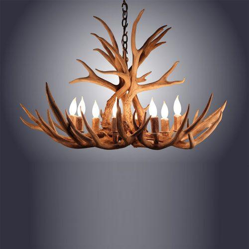 8 light tall mule deer antler chandelier awc 3