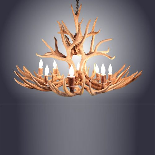8 Light Oval Mule Deer Antler Chandelier AWC-5