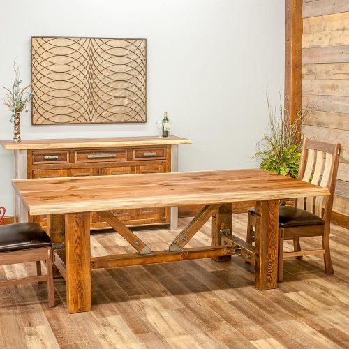 Harvest Reclaimed Barn Wood Buffet-Live Edge Top-TM Designs 303744-WFT