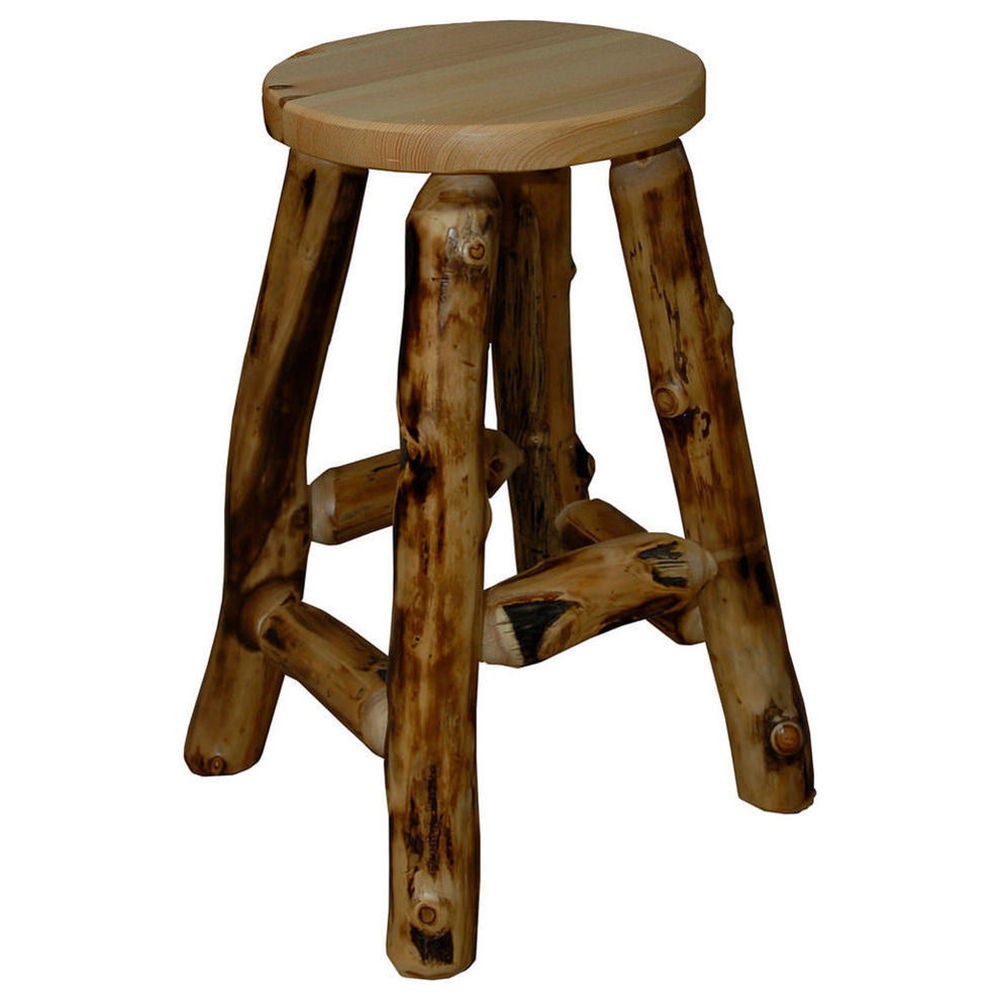 furniture fireside fl lodge stool stools log hickory arms with bar swivel square
