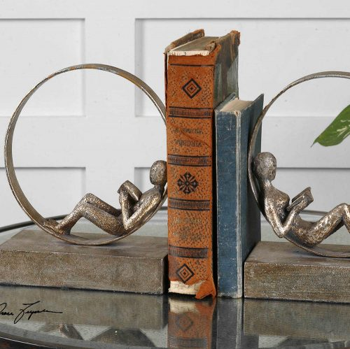 Lounging Reader, Bookends, S/2 19596