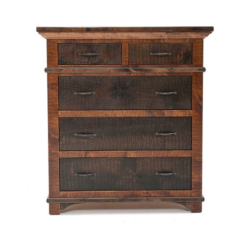 Glen Falls Reclaimed Barn Wood Split 5 Drawer Chest 21429
