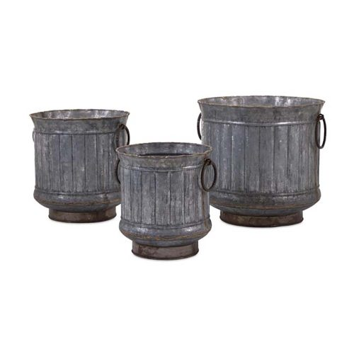 Griffin Galvenzied Planters with Brass Edging 84851-3
