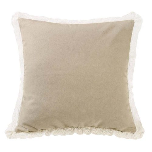 Tan Burlap Trim Square Pillow FB4900P3