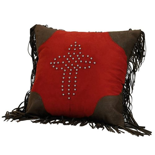 Red Rodeo Faux Leather Pillow PL3120