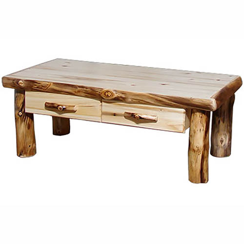 aspen log coffee table