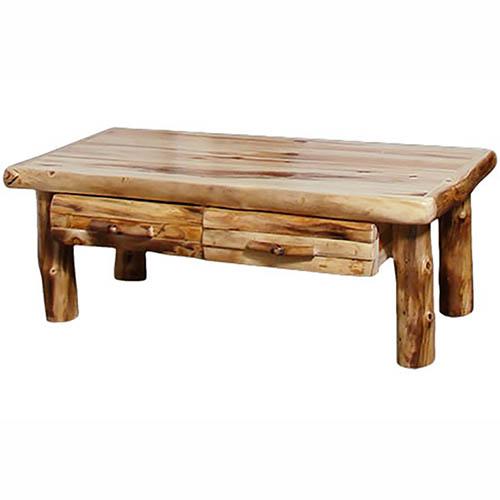 aspen half log drawer coffee table