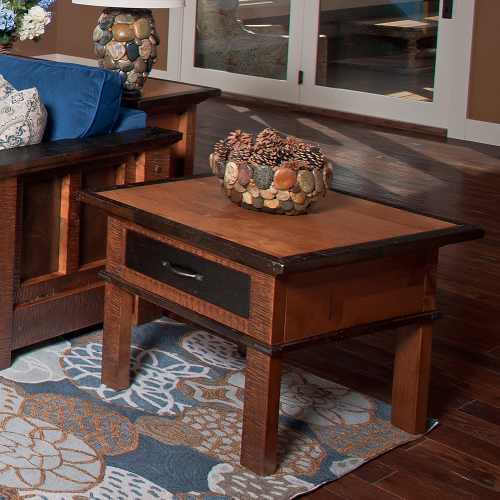 Saratoga reclaimed barn wood 1 drawer side table for 1 drawer table