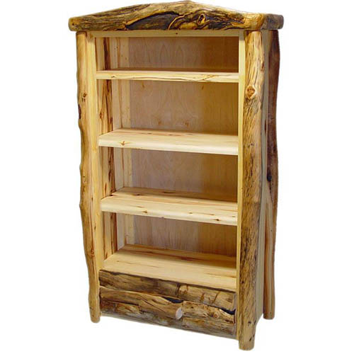 aspen log bookcase