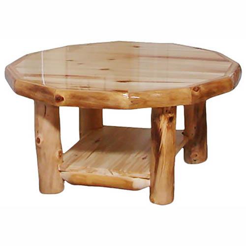 light aspen log octagon coffee table