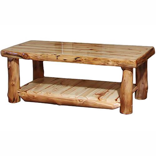 aspen log alpine shelf coffee table