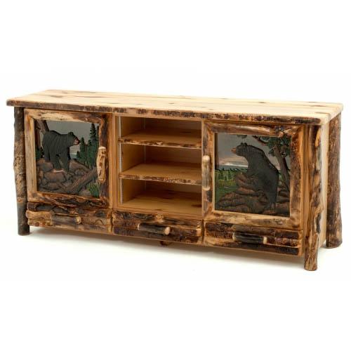 aspen log carved tv stand