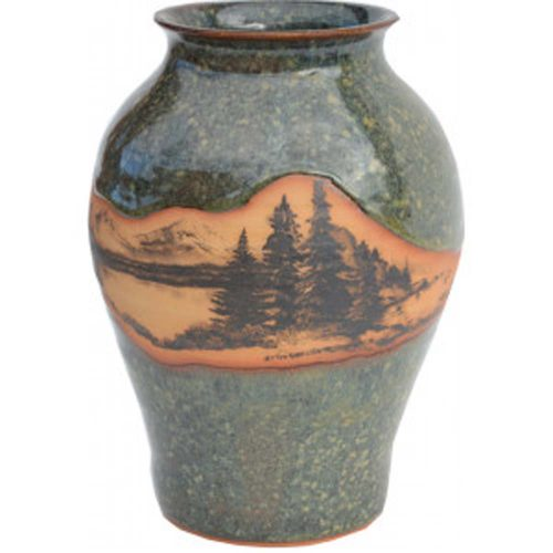 Mountain Scene Medium Neck Vase 164MountainScene