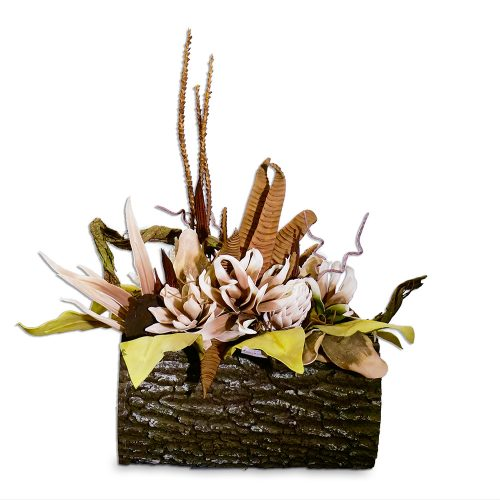 Beige and Green Eva Floral Arrangement in Giant Faux Oak Log AUI-F143