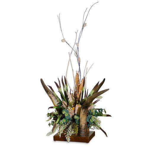 Green Yucca and Birch Arrangement in Vertical 3 Horn Centerpiece
