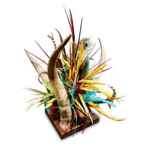 Red, Gold and Turquoise 3 Horn Centerpiece