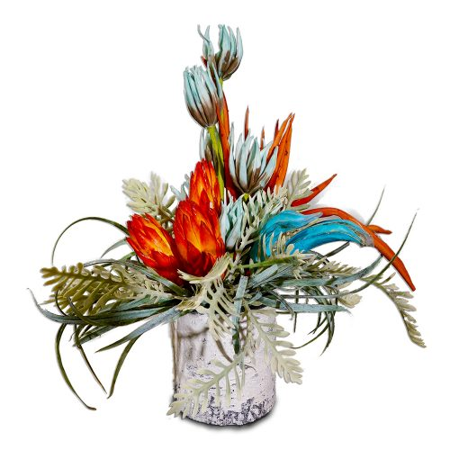 Faux Birch Log Centerpiece with Rust and Turquoise Arrangement