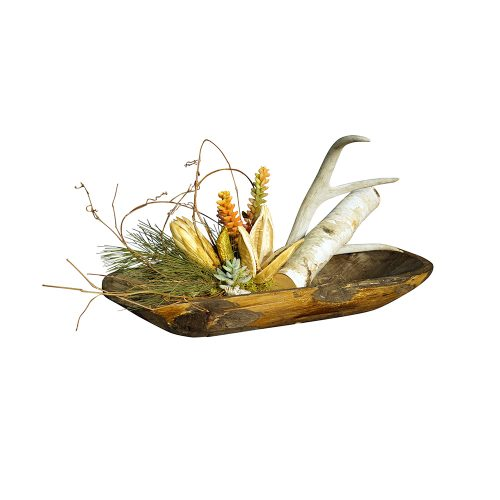 Natural Antler and Pod Centerpiece with Succulent Accents in Dough Bowl