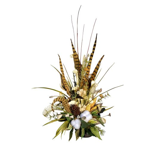 Natural Cotton and greenery arrangement with feather accents on tile