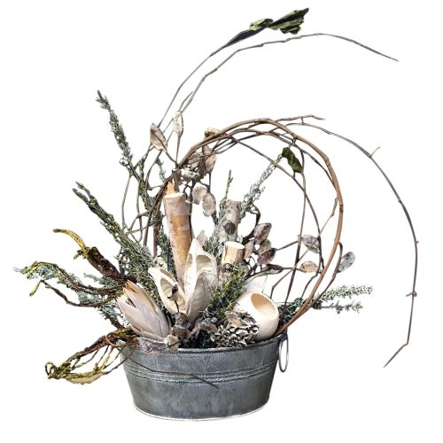 Grapevine and Cream Arrangement in Distressed Galvanized Pot