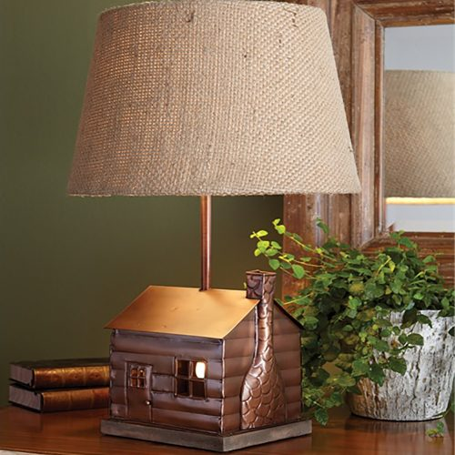 Log Cabin Lamp with Shade