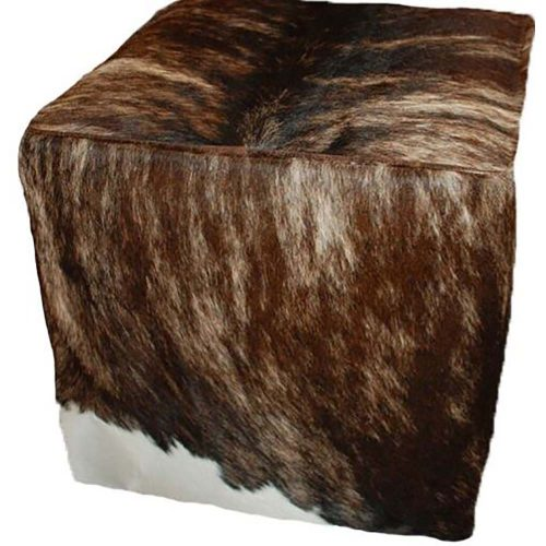 "18"" Cowhide Cube Ottoman"