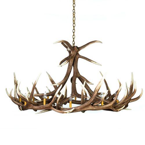 9 Antler Elk Chandelier Faux