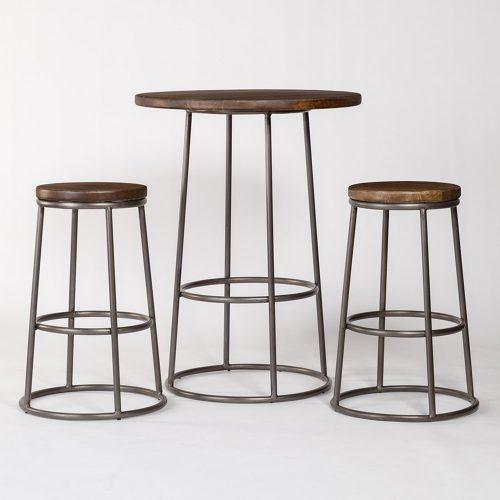 Loft Pub Table and 2 Loft Bar Stools AT006-SET-RDW/BRF