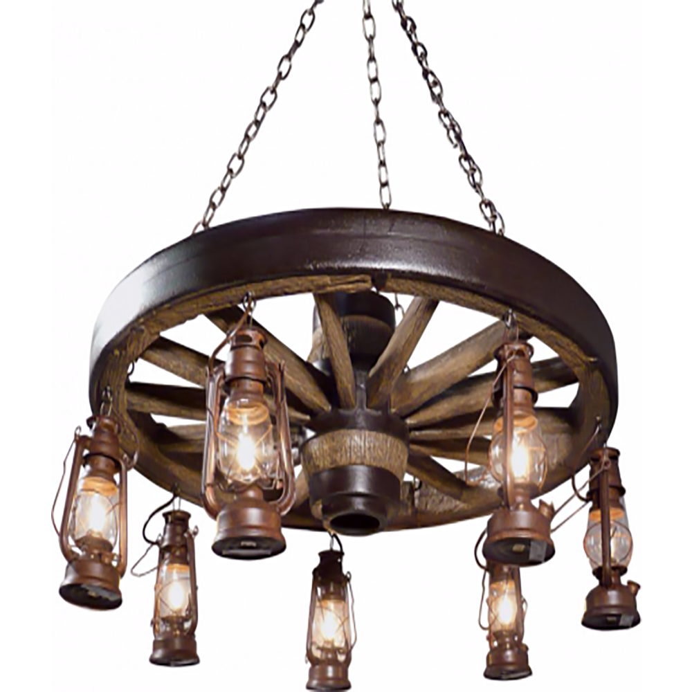Wagon Wheel Light Chandelier: Large Wagon Wheel Chandelier With Lanterns WWLSL