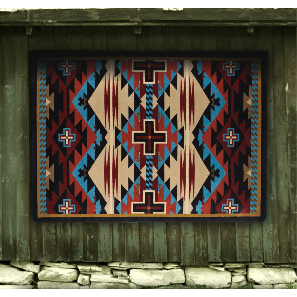 Rustic Cross Blue Rug