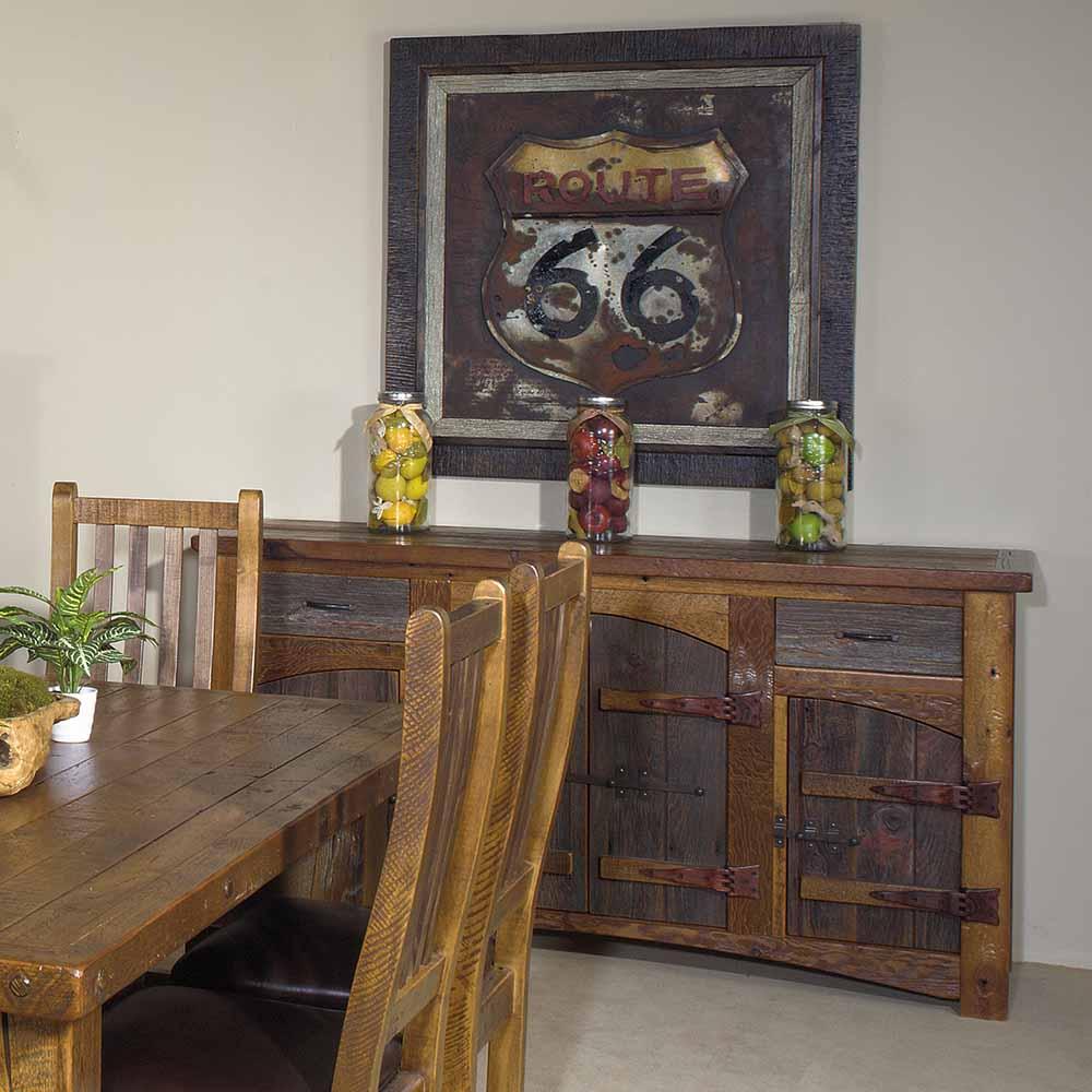 Heritage Laramie Reclaimed Barn Wood 2 Drawer 4 Door Sideboard 18033