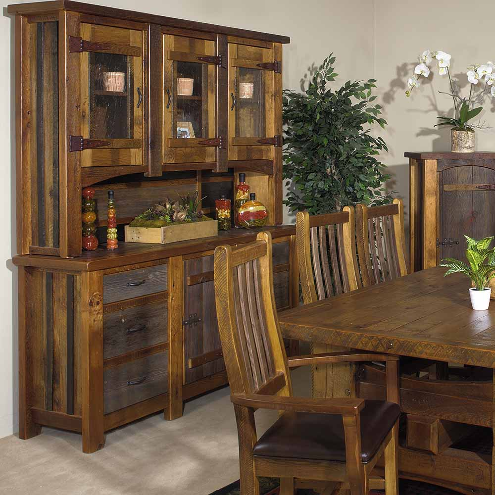 Heritage Silver Falls Reclaimed Barn Wood Hutch 3 Glass Doors