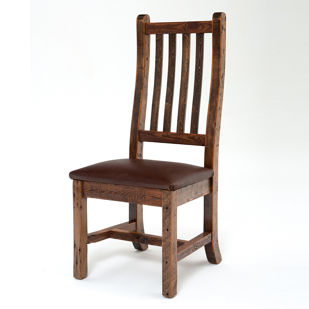 Heritage Reclaimed Barn Wood Arm Chair-Leather Seat