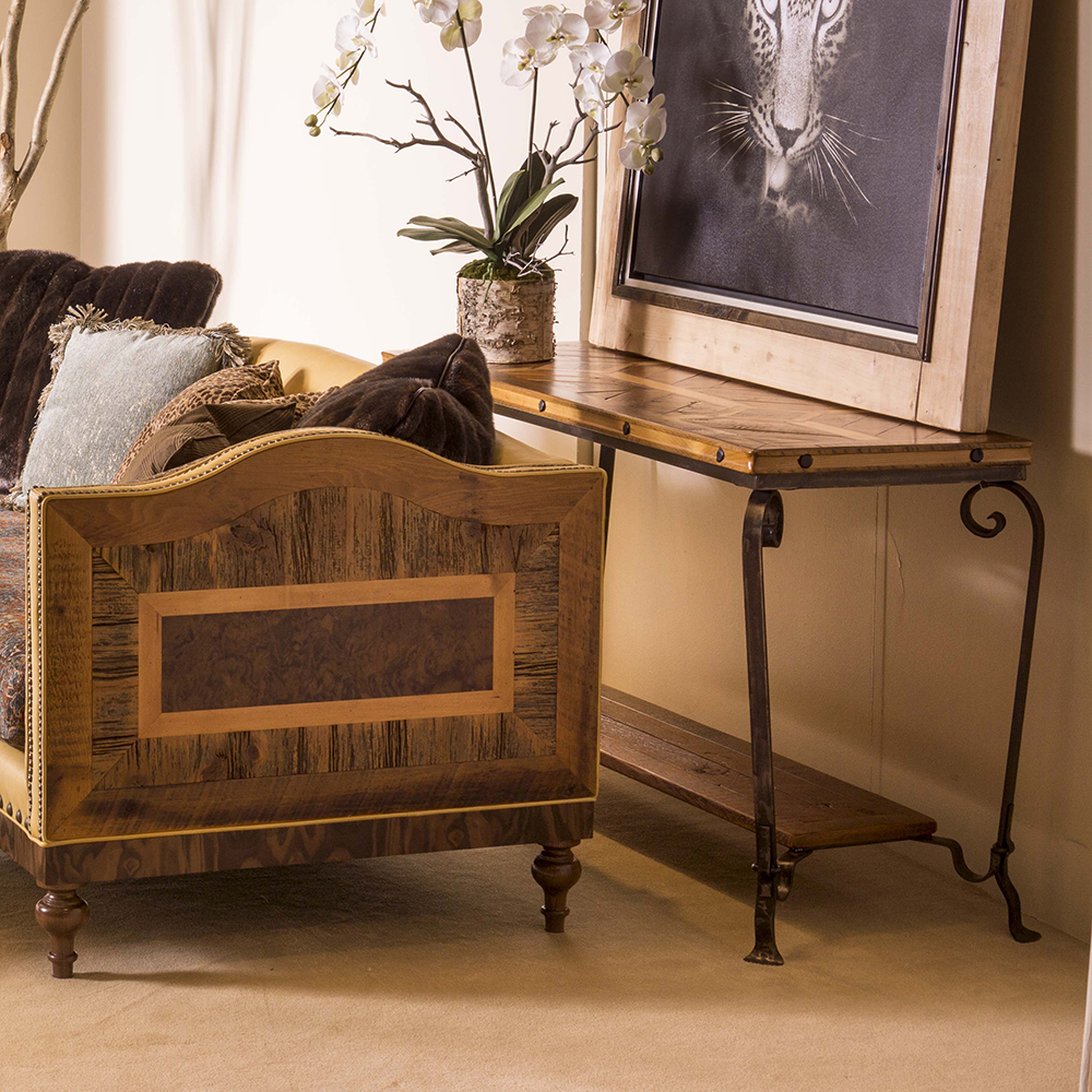 Durango Reclaimed Barn Wood Sofa Table 710 Wrought Iron