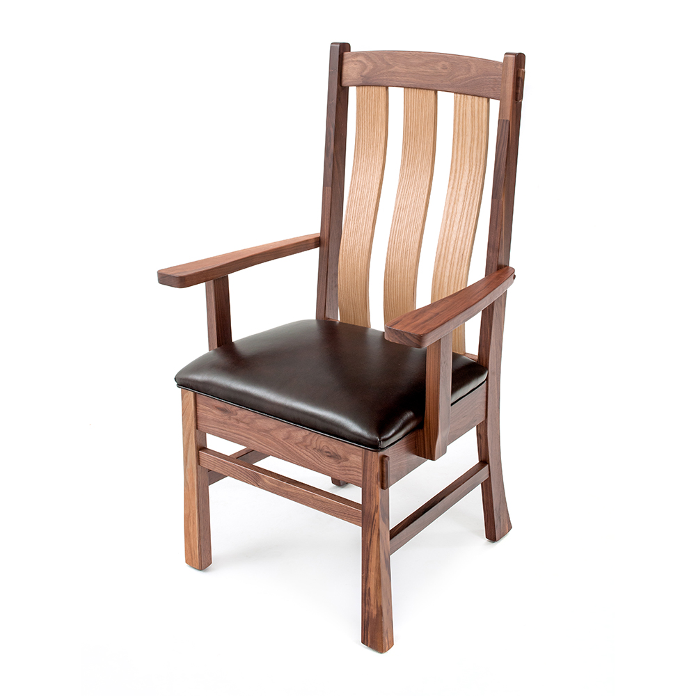 Ashcroft Walnut-Oak Dining Chair-Leather Seat A-850