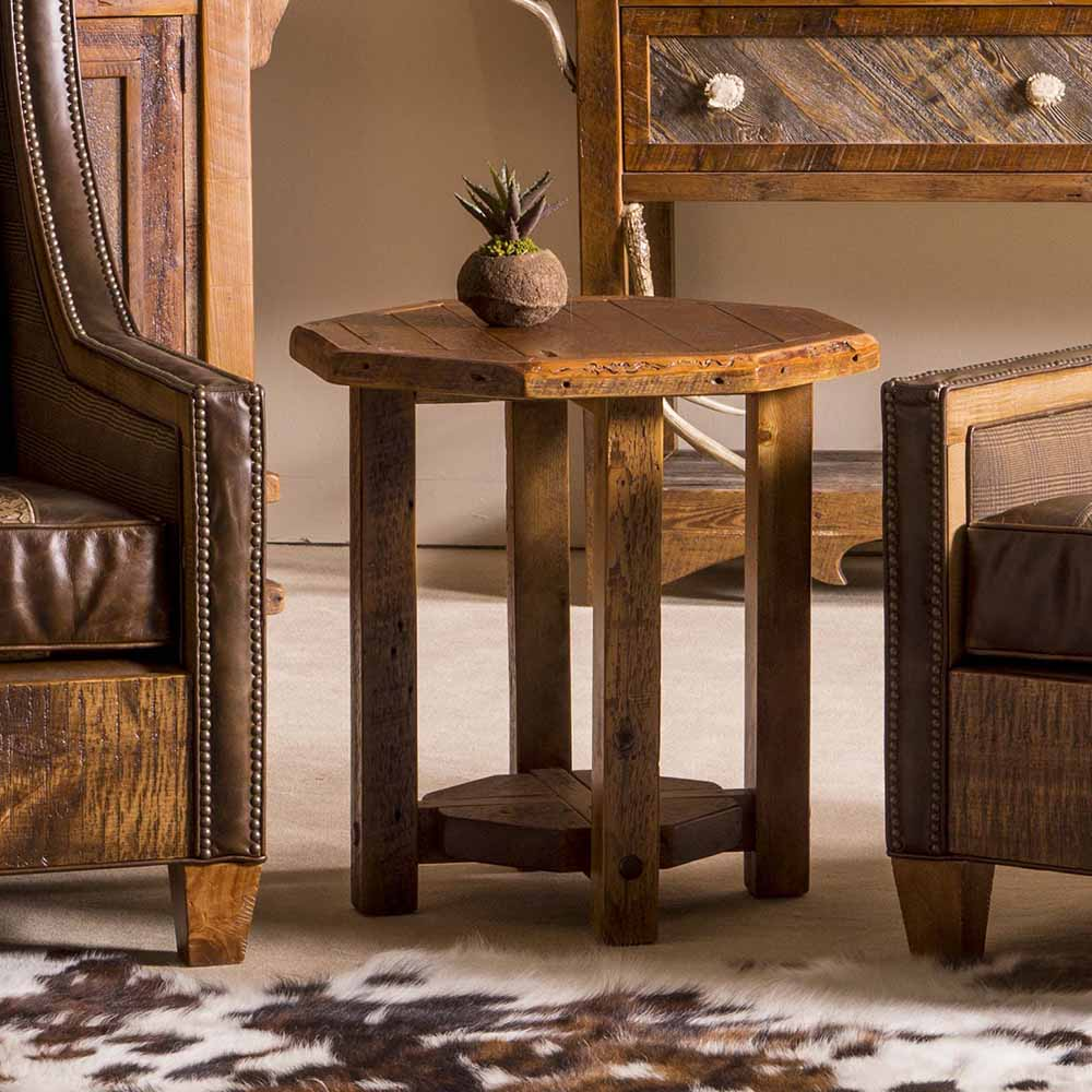 Stony Brooke Reclaimed Barn Wood Octagon Side Table 7204