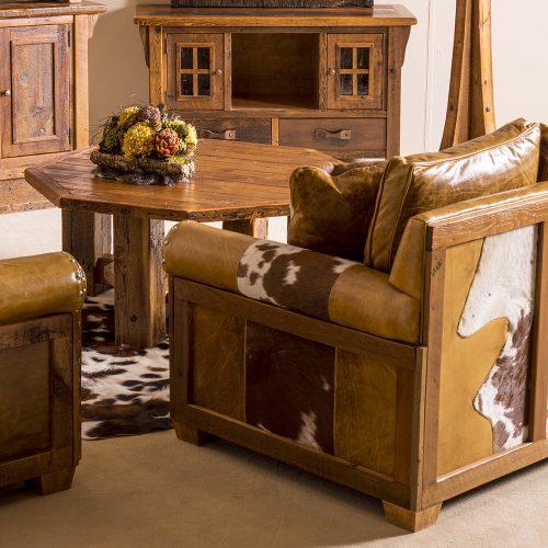 Stony Brooke Reclaimed Barn Wood Octagon Coffee Table-Shelf 7208