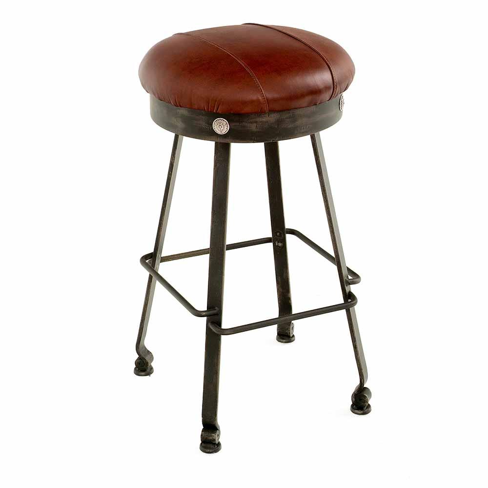 Steel Traditions Clovis Swivel Bar Stool Leather Seat