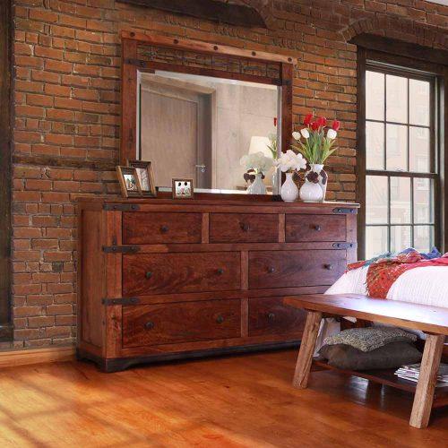 Parota Urban Rustic 7 Drawer Dresser IFD-866DSR