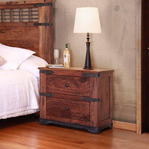 Parota Urban Rustic 2 Drawer Nightstand IFD2020-NTST