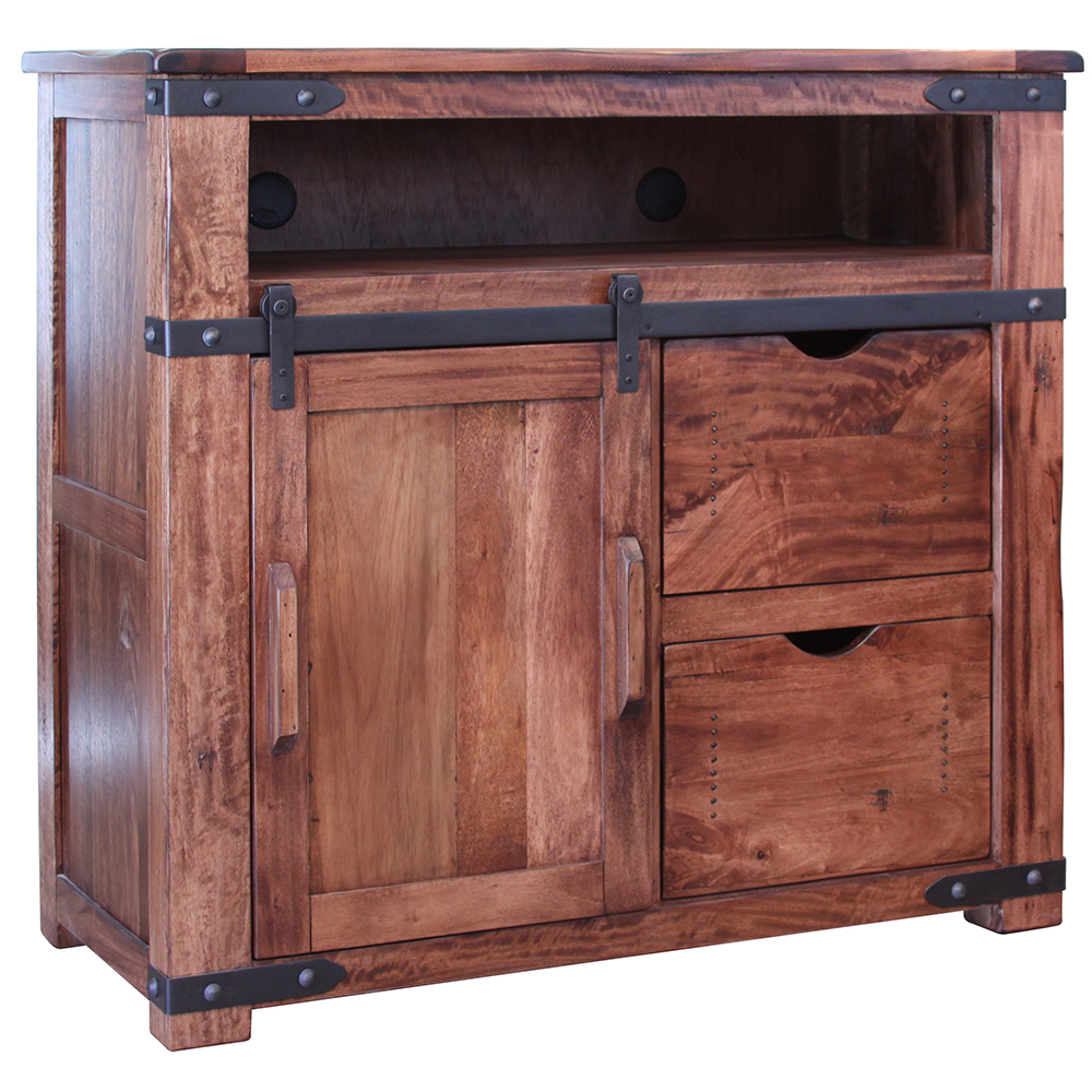 Parota ii urban rustic 2 drawer 1 door media chest