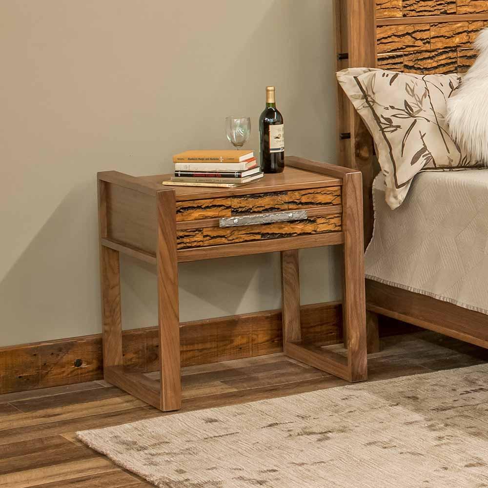 Riley Reclaimed Barn Wood 1 Drawer Nightstand-Bark Tile-TM Designs 6317206-BT